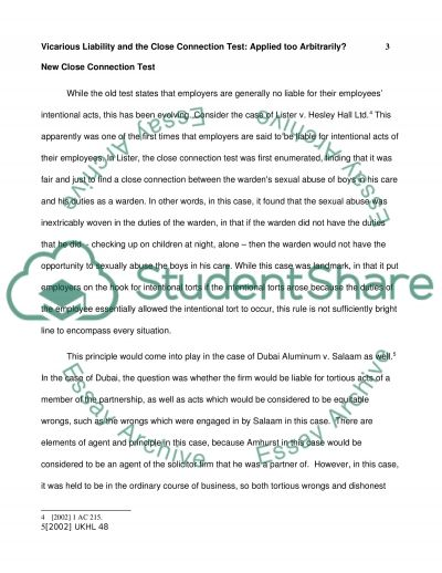 vicarious liability and the close connection test essay text