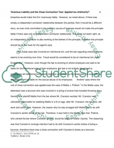 vicarious liability and the close connection test essay vicarious liability and the close connection test essay example text preview