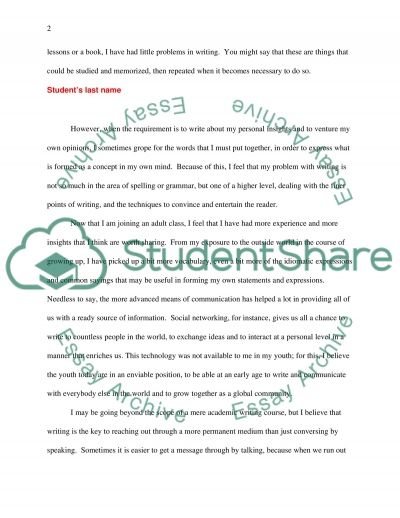 Academic Writing for Adults Class