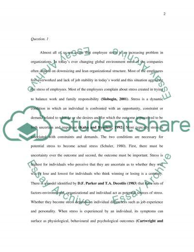 Stress Management in Organization essay example