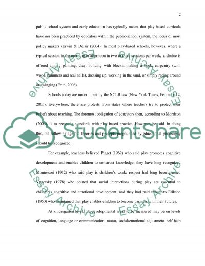 Early Childhood Evaluation essay example