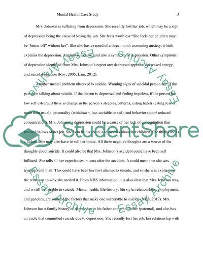 Mental Health Case study Essay