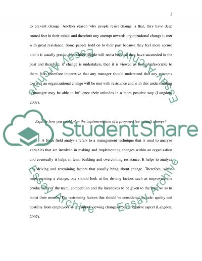 The organizational changes essay example