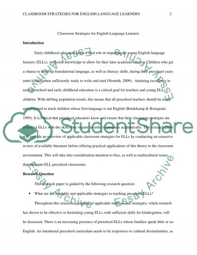 Classroom Strategies for English Language Learners essay example