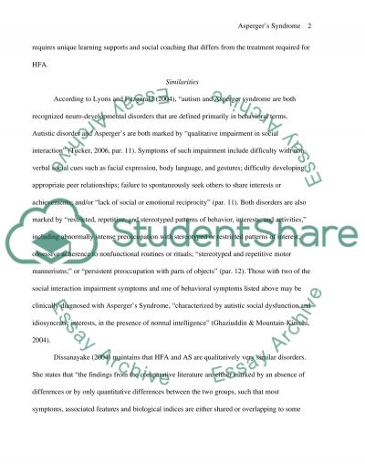 Aspergers Syndrome and High Functioning Autism essay example