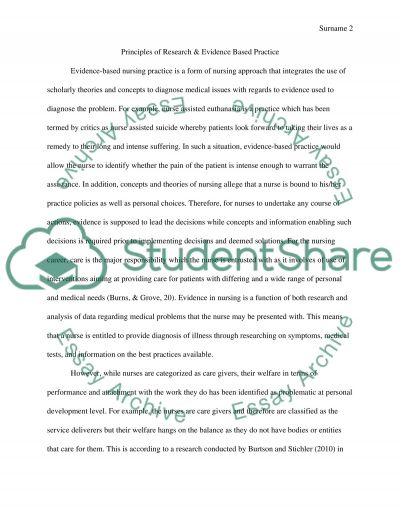 Principles of research & evidence based practice essay example