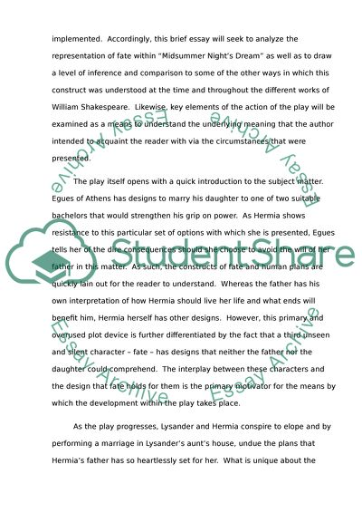 Compare Contrast Essay Examples High School Representations Of Fate In William Shakespeares Midsummer Nights Dream Research Paper Essay Topics also Thesis Essay Examples Representations Of Fate In William Shakespeares Midsummer Nights  High School Essay Writing