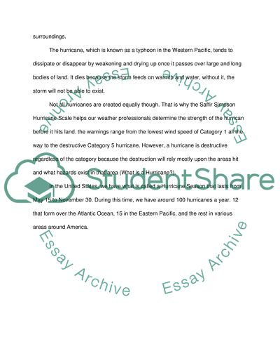 Introduce what the Hurricane is to element school students