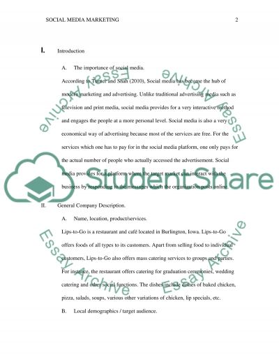 Social Media Marketing Plan essay example