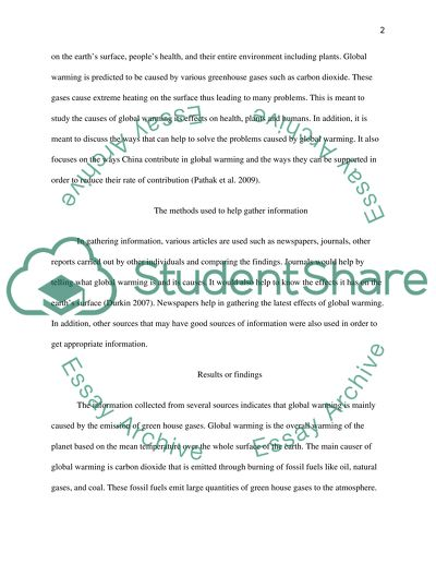 Global Warming Assignment Example  Topics And Well Written Essays  Global Warming