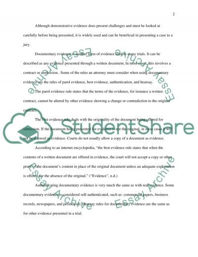 Evidence essay example