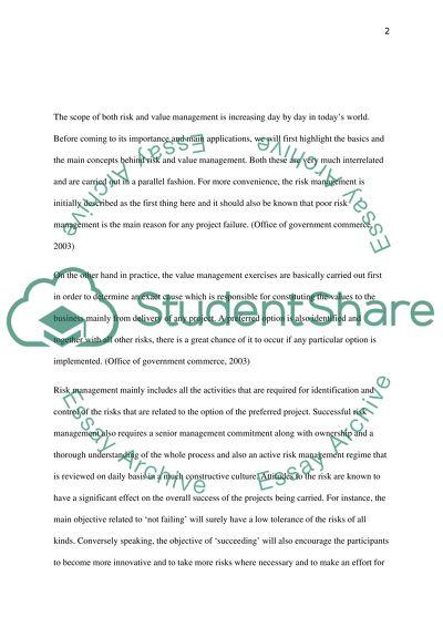 risk management essays samples