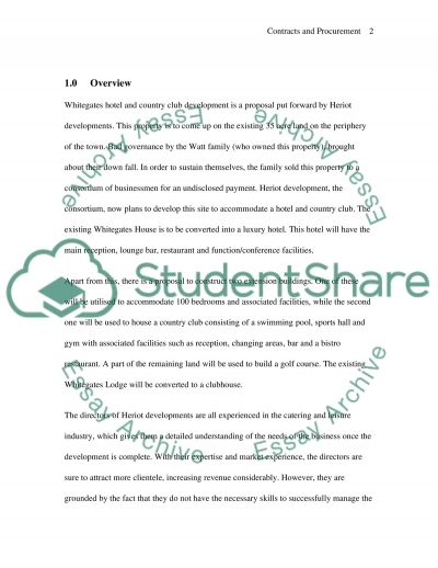 Contracts & Procurement essay example