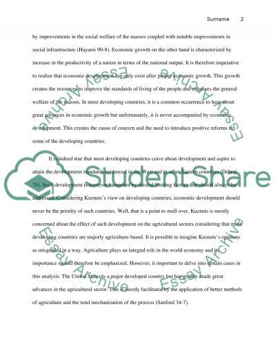 Development economics essay example