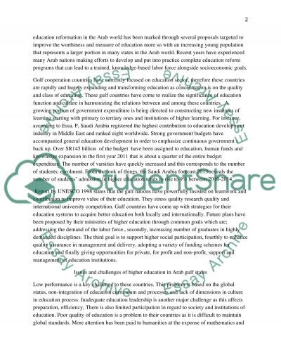 Higher education in gulf countries essay example