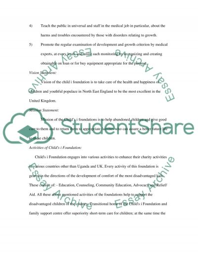 Marketing Management: Childs i Foundation essay example