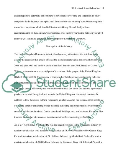 Finance analysis of Whitbread Financial Ratios essay example