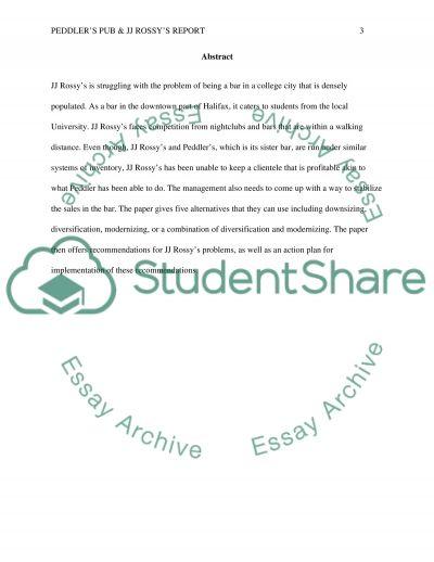 Peddlers Pub & JJ Rossys Report essay example