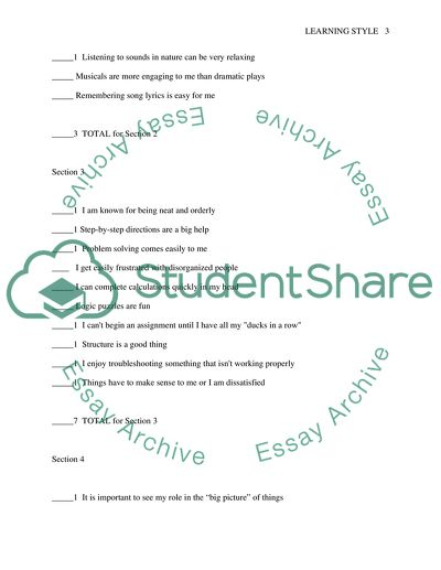 Learning style inventory paper