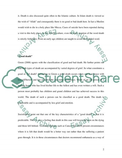 Terms good and bad Death essay example