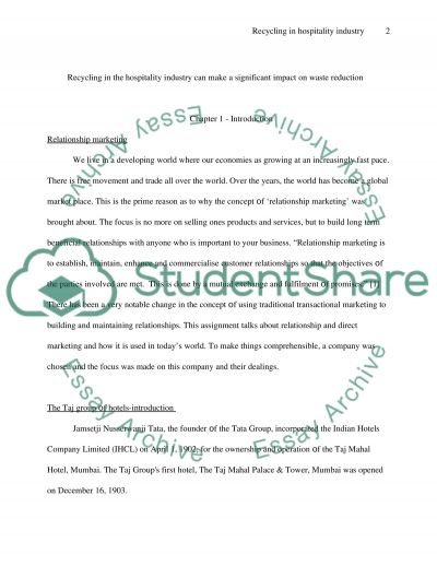 Recycling in the hospitality essay example