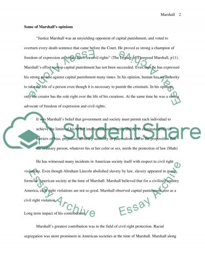 Supreme Court Justice Thurgood Marshall essay example