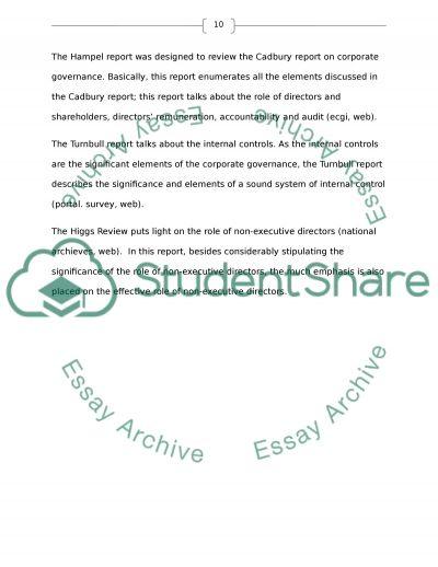 Corporate governance essay example