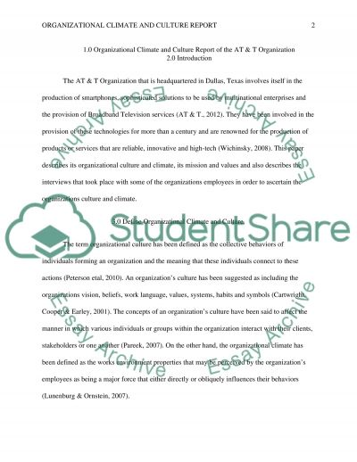 Organizational Climate and Culture Report, 5-6 pages essay example