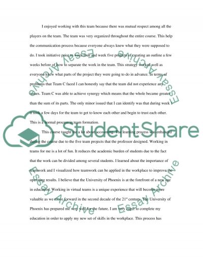 Nursing reflective essay on teamwork