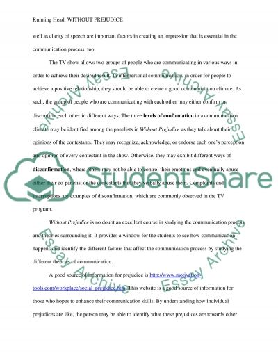 analysis for out prejudice tv show research paper analysis for out prejudice tv show essay example