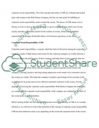 Walt Disney Company essay example