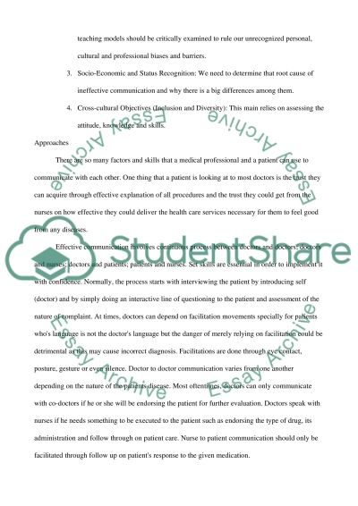 Short paper-Communication Skills in the Practice of Medicine essay example
