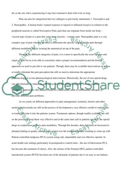 pain and different treatment modalities Essay example