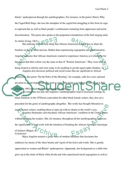 Essay about Maya Angelou Research Paper Example | Topics and Well ...