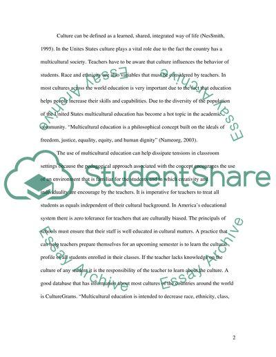 Cultural Diverity Education Essay