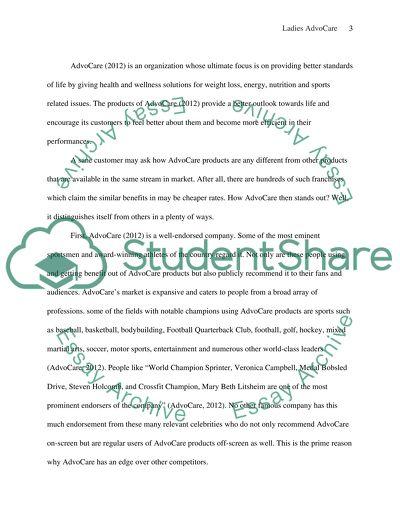 Ladies AdvoCare Organization Term Paper Example | Topics and