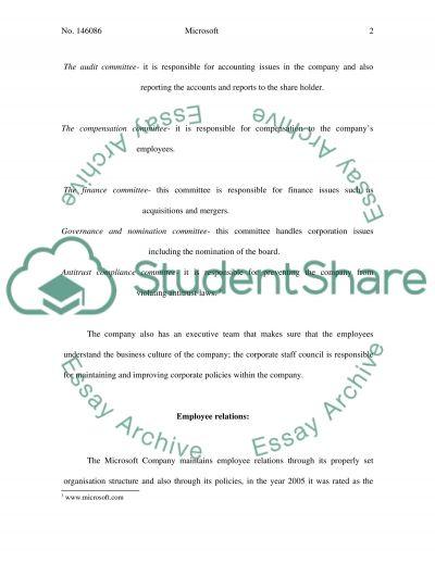 Microsoft: Employee relations essay example