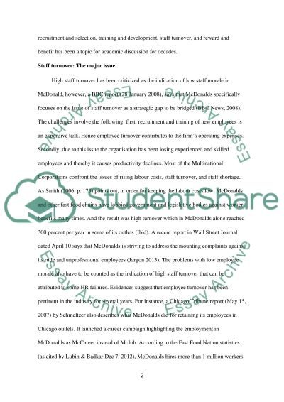 hrm issues in mcdonalds essay example topics and well written  hrm issues in mcdonalds essay example