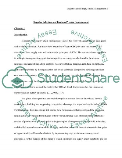 Supplier Selection and Business Process Improvement Essay example