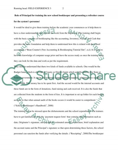 Field Experience Essay essay example