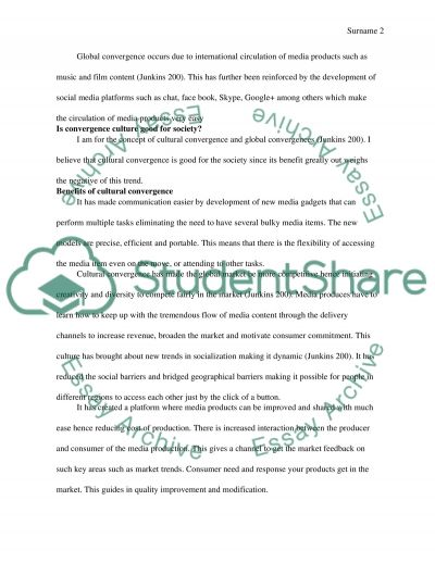 Convergence Culture Argumentation essay example