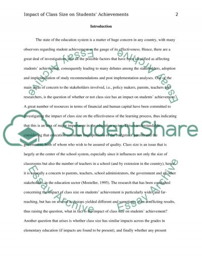 Impact of Class Size on Students Achievement essay example