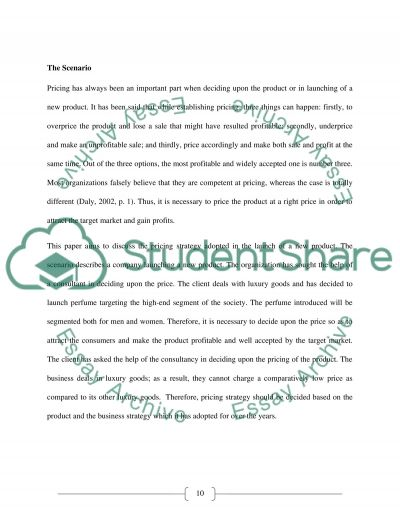 Pricing Strategy Consulting Business Essay example