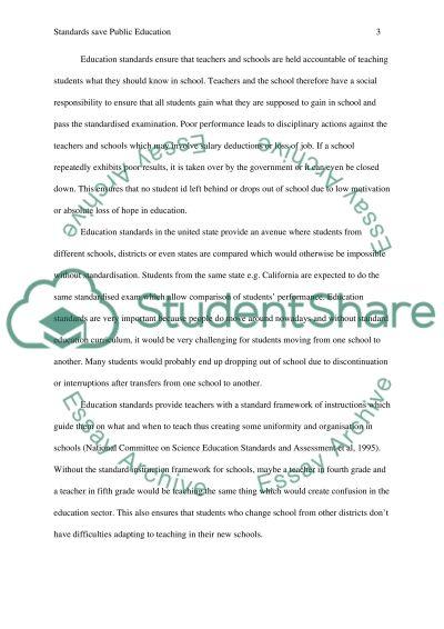 Standards Save Public Education essay example