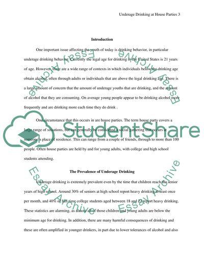 Under age drinking essay