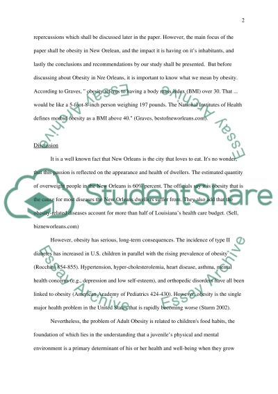 Impact of Natural Disaster on obesity of the residents of New Orleans essay example