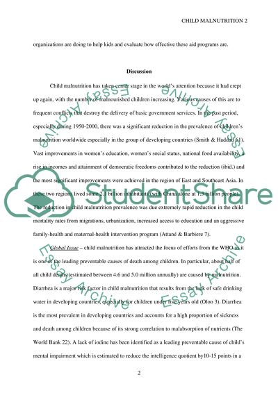≡Essays on Malnutrition. Free Examples of Research Paper Topics, Titles GradesFixer