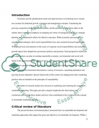 Sustainability Marketing essay example