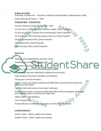 CV Creation essay example