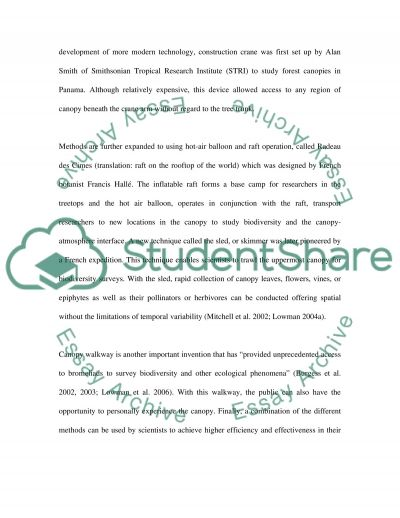 Methods to Access the Canopy essay example